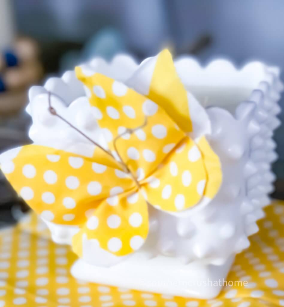 diy scrap butterflies yellow polka dot on candle