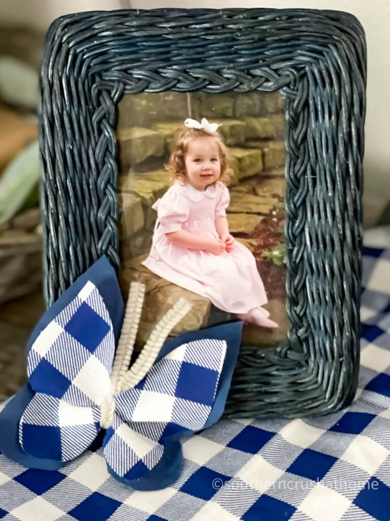 diy scrap butterflies blue buffalo check on photo frame
