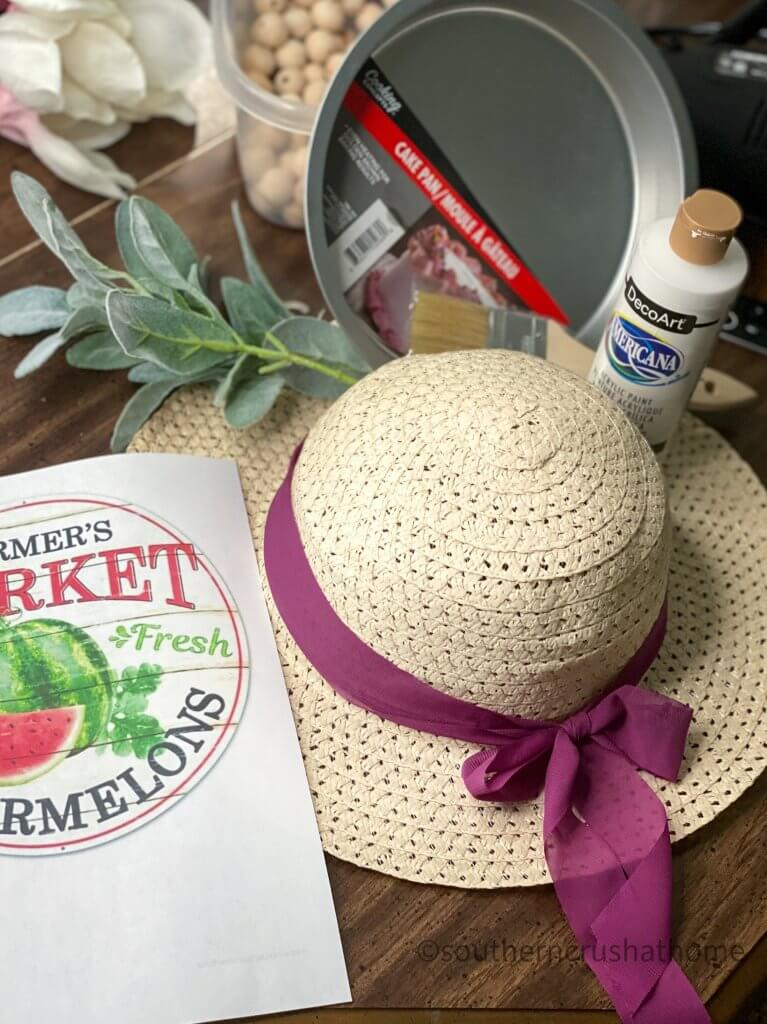 Dollar Tree summer sun hat wreath supplies
