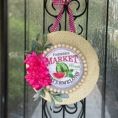 Dollar Tree Summer Sun Hat Wreath + FREE Printable