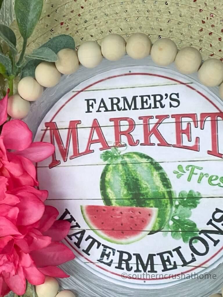 Dollar Tree summer sun hat wreath watermelon printable