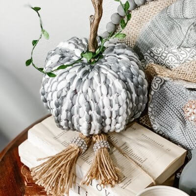 Dollar Tree Braided Pumpkin DIY (Using a Mop Head)