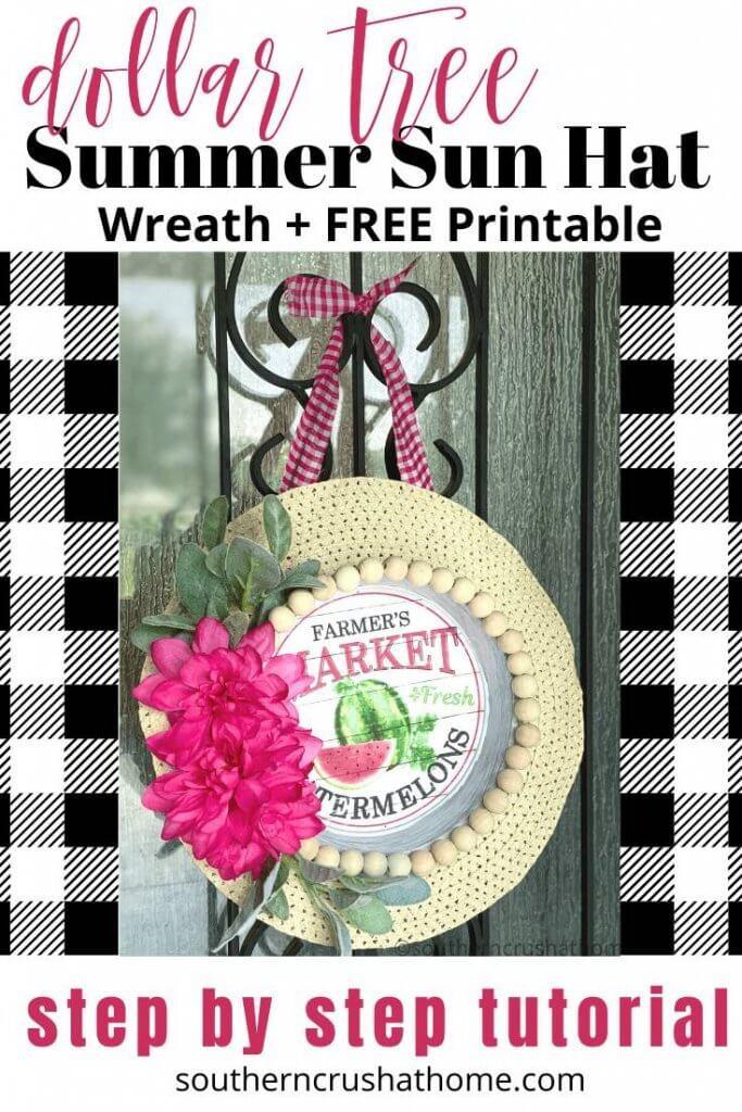 Dollar Tree summer sun hat wreath pin