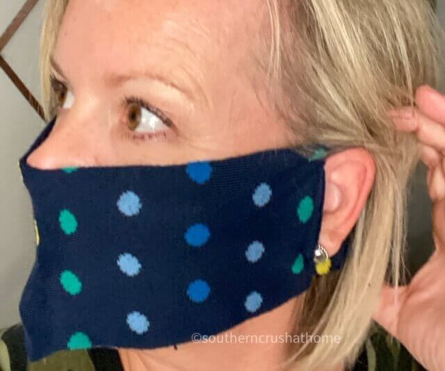 easy DIY no sew sock face mask behind ear