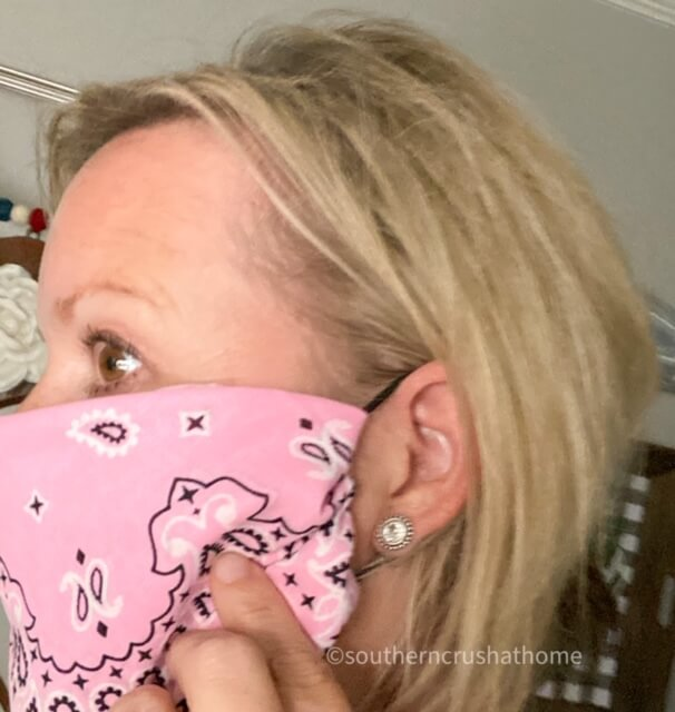 easy DIY no sew bandana face mask side view