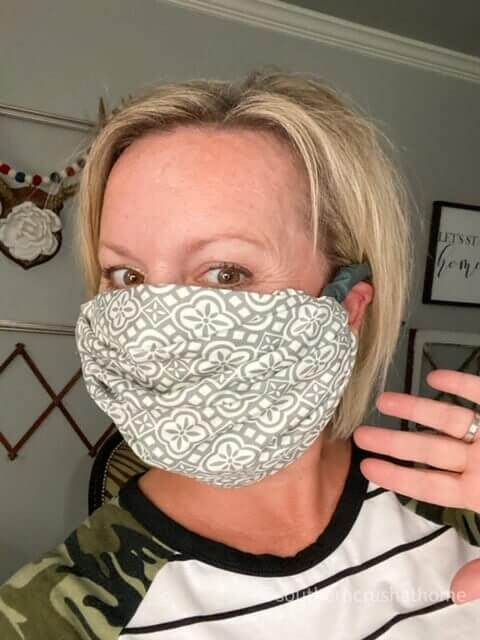 easy DIY no sew pillowcase face mask side view