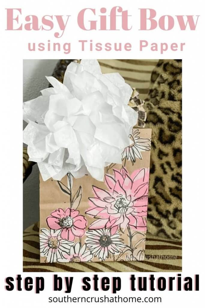 Easy Gift Bow using Tissue Paper Pin