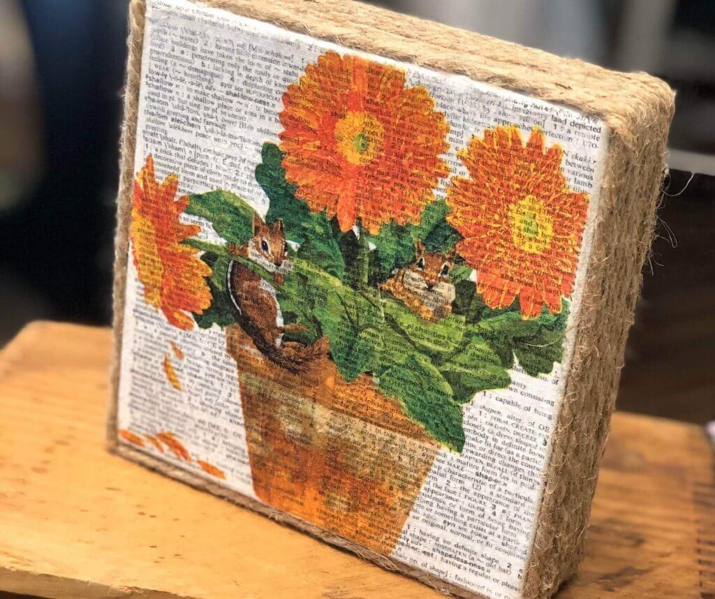 Napkin Art Canvas complete with jute trim