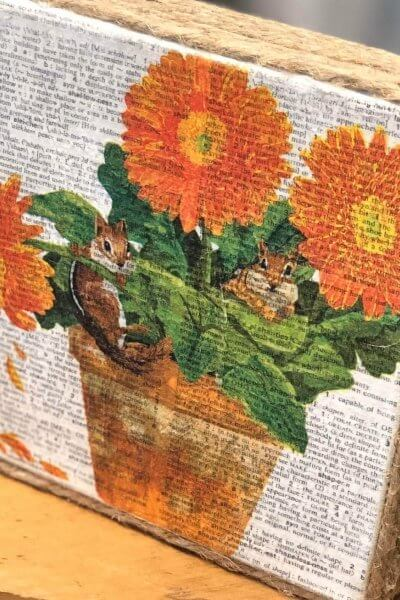 Napkin Art Canvas complete with jute trim