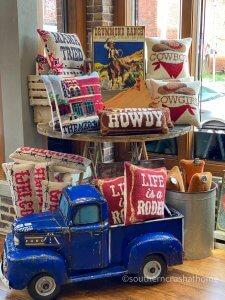 pioneer woman vintage blue truck Texas display