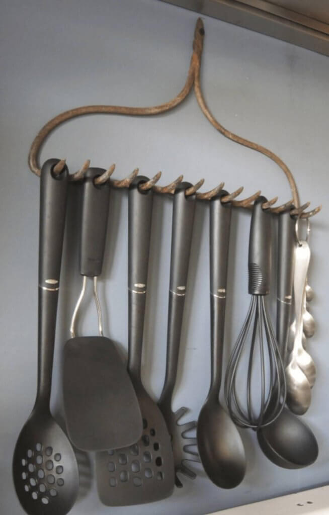 Metal Rake BBQ Tool Storage Idea