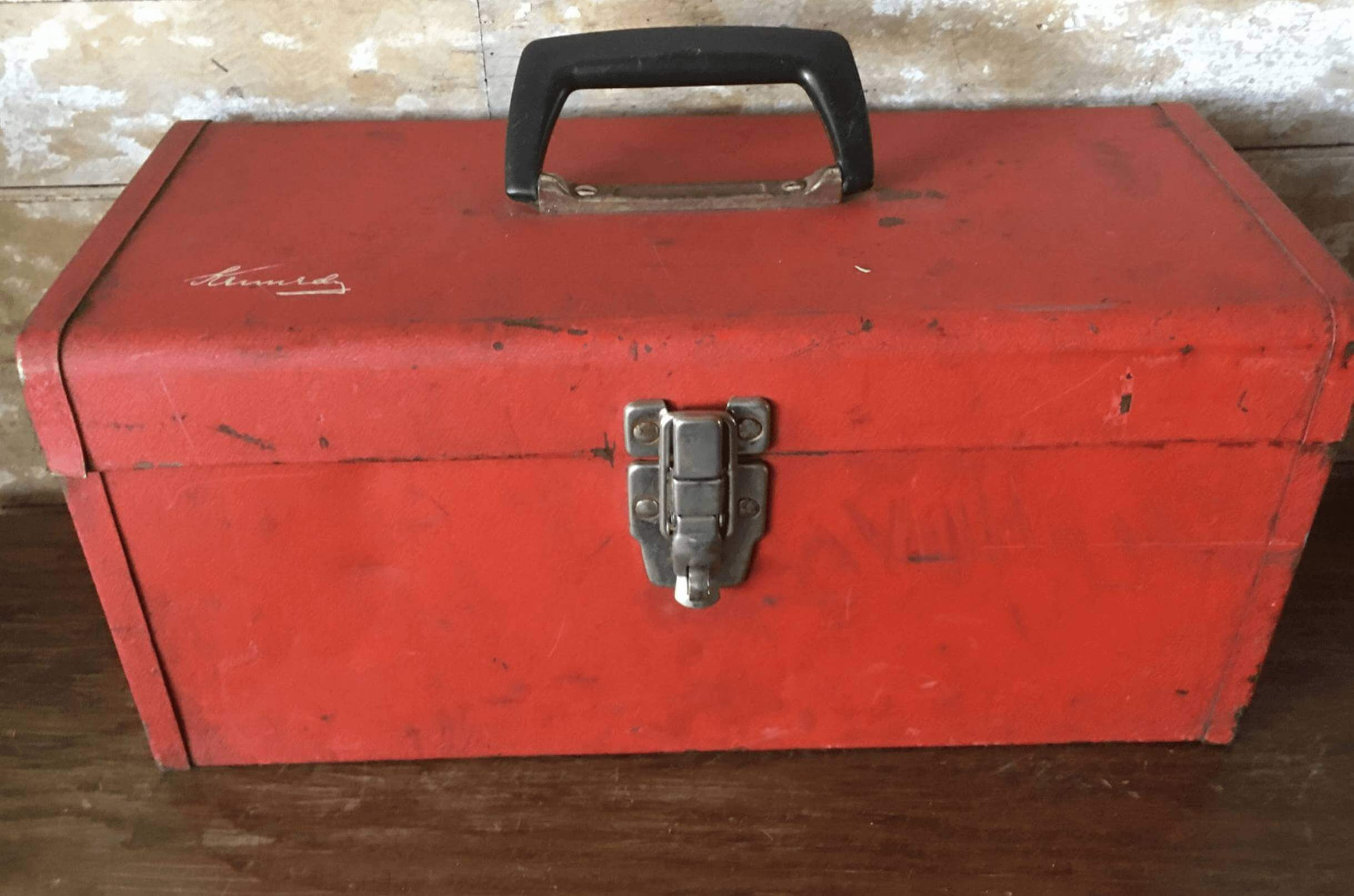 Vintage Red Toolbox for BBQ Tools