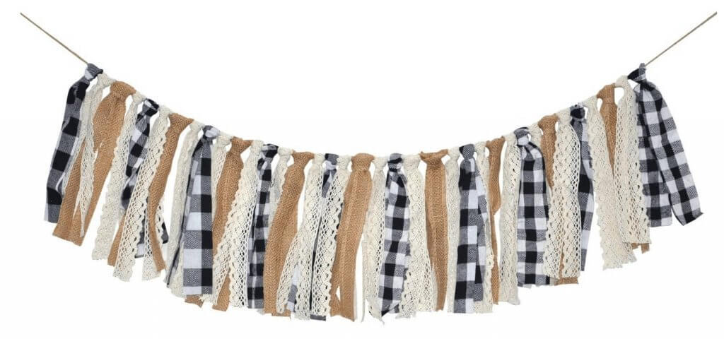 Black and White buffalo check and burlap banner garland mantle decor