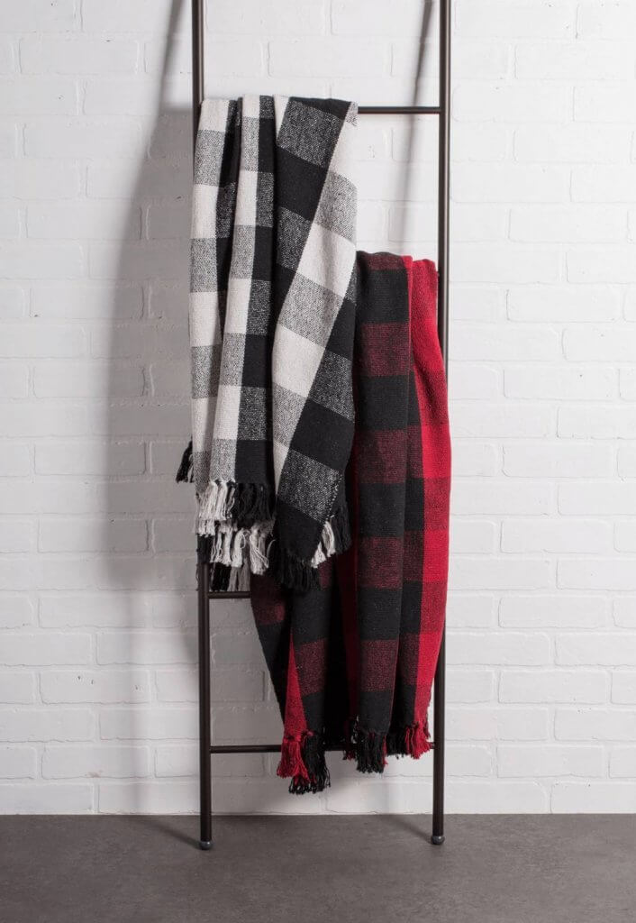 Black and White Buffalo Check Blanket on a Blanket Ladder