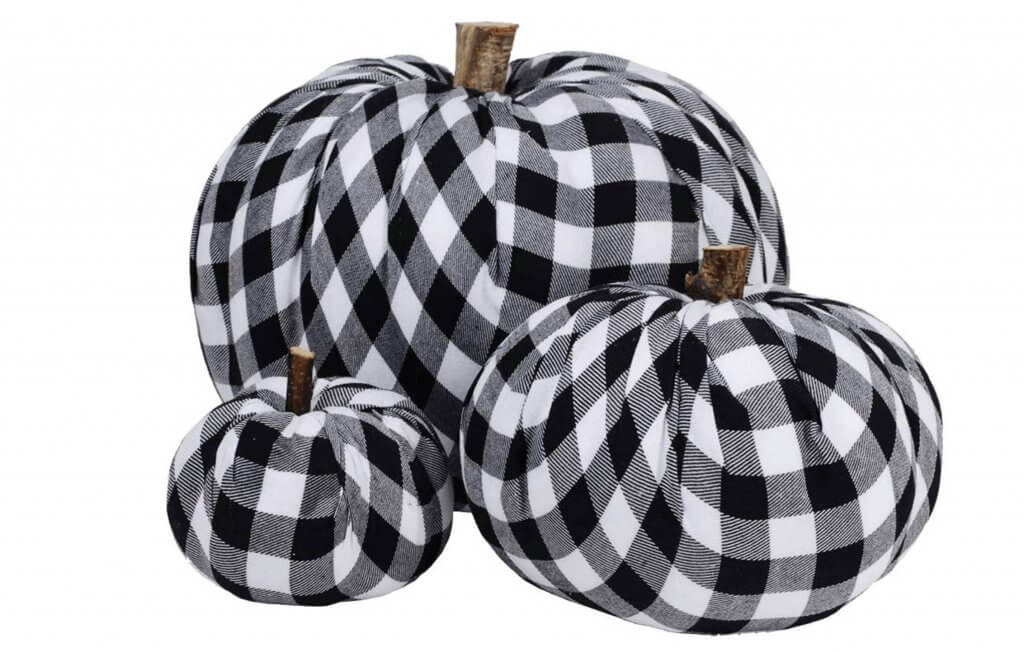 Black and White Buffalo Check Fabric Pumpkins with wood stem Fall decor