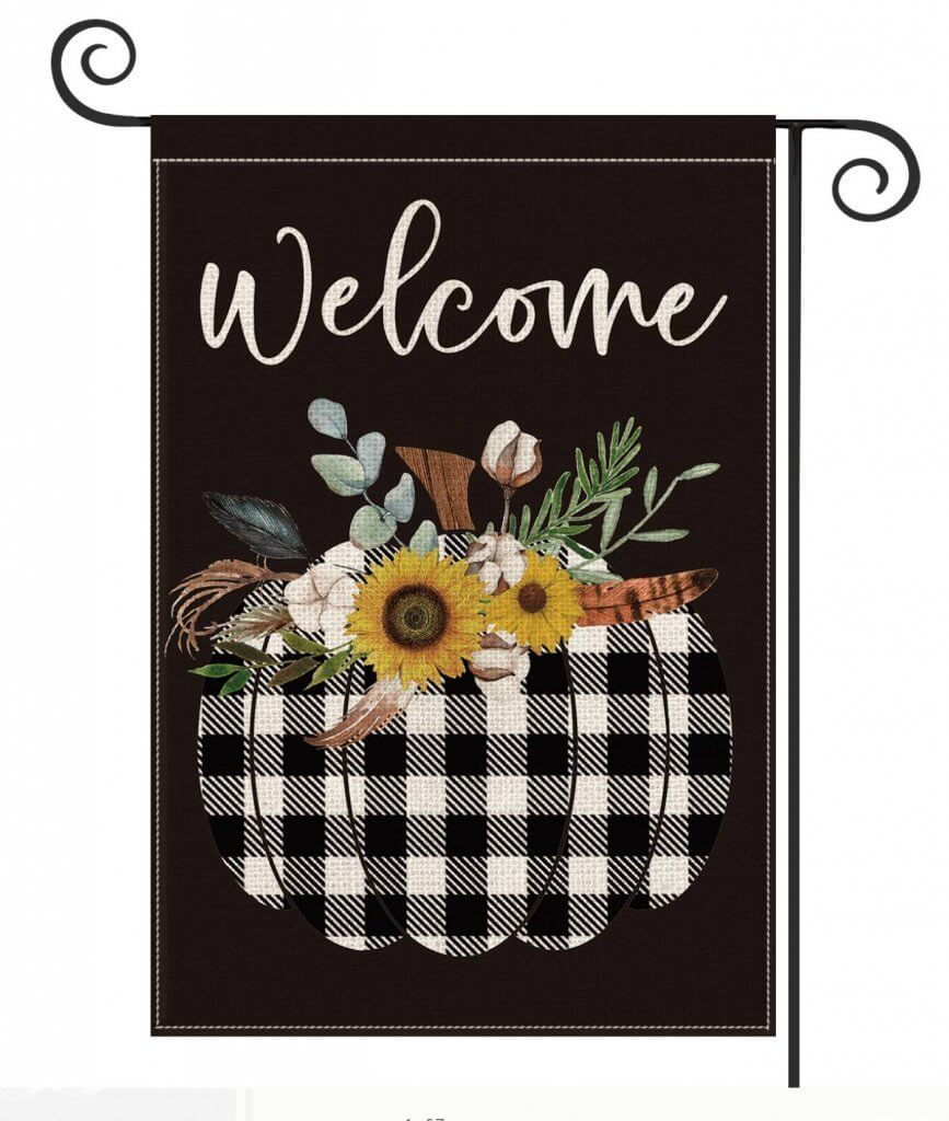 Black and White Buffalo Check Fall Pumpkin Garden Flag