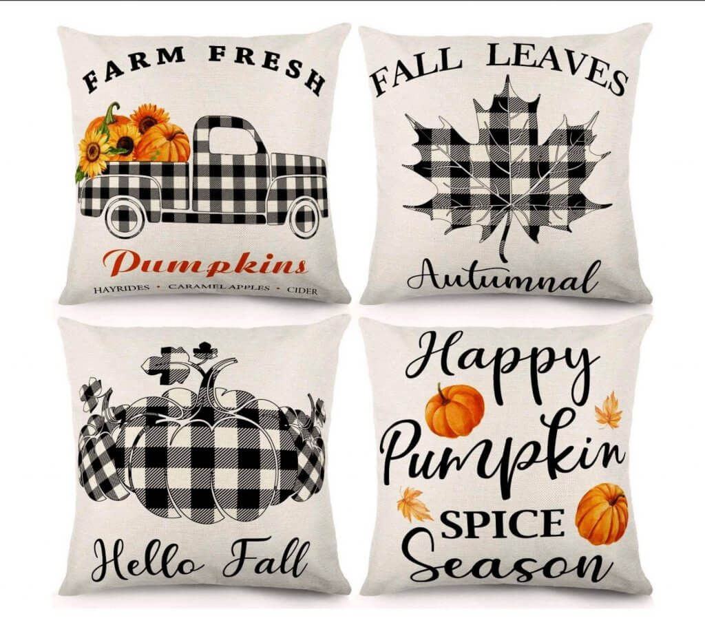Black and White Buffalo Check Fall Pumpkin Pillow Covers