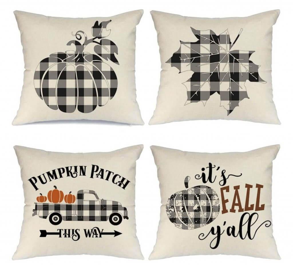 Black and White Buffalo Check Seasonal Fall Pillow Cover Set of Four