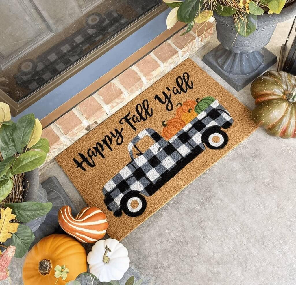 Black and White Buffalo Check Vintage Truck with Pumpkins Fall Doormat