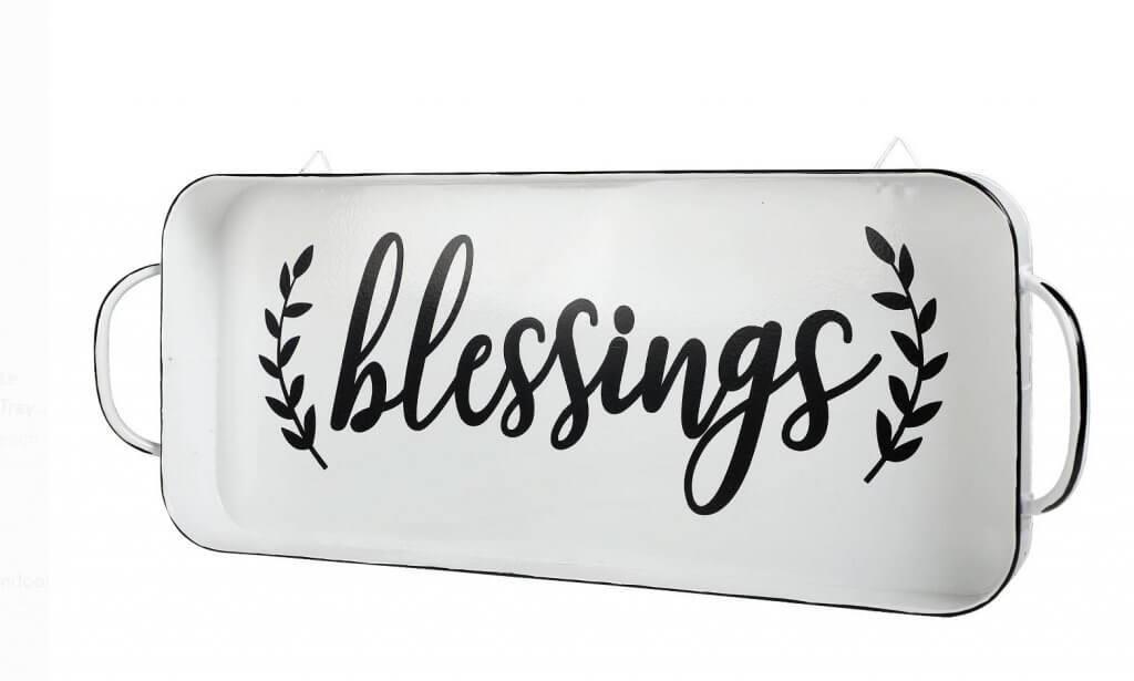 Black and White enamel blessings tray