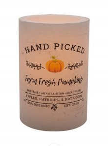 Black and White Hand Picked Pumpkins Battery Operated Candle