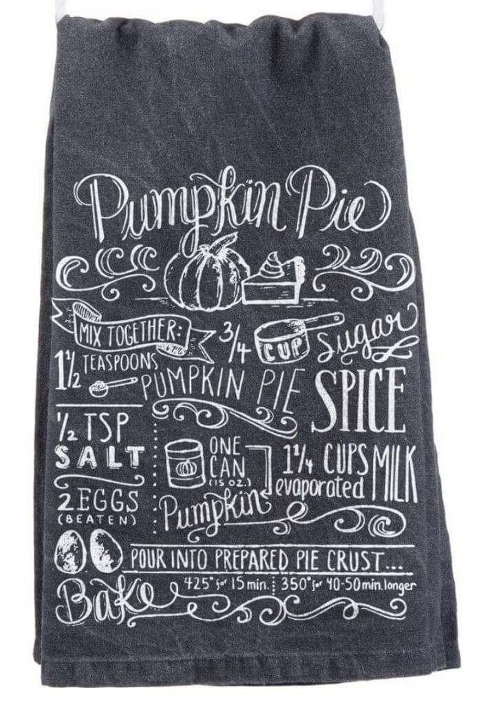 Black and White Pumpkin Pie Recipe Kitchen Dish Towel Decor