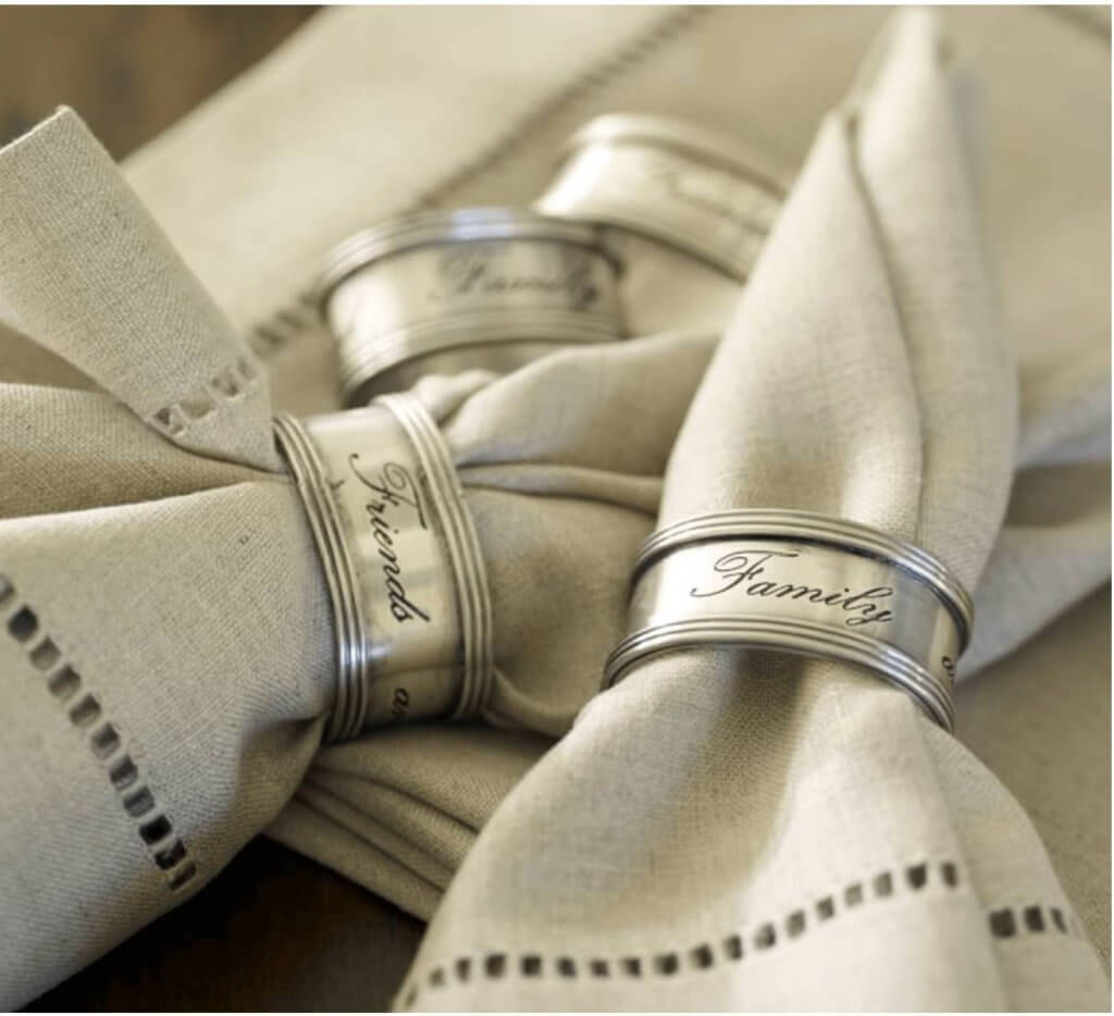 Neutral Silver Napkin Ring Holders