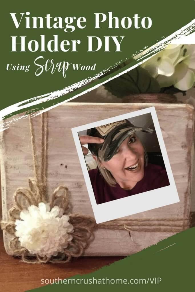 Vintage Wood Block Photo Holder DIY Pin