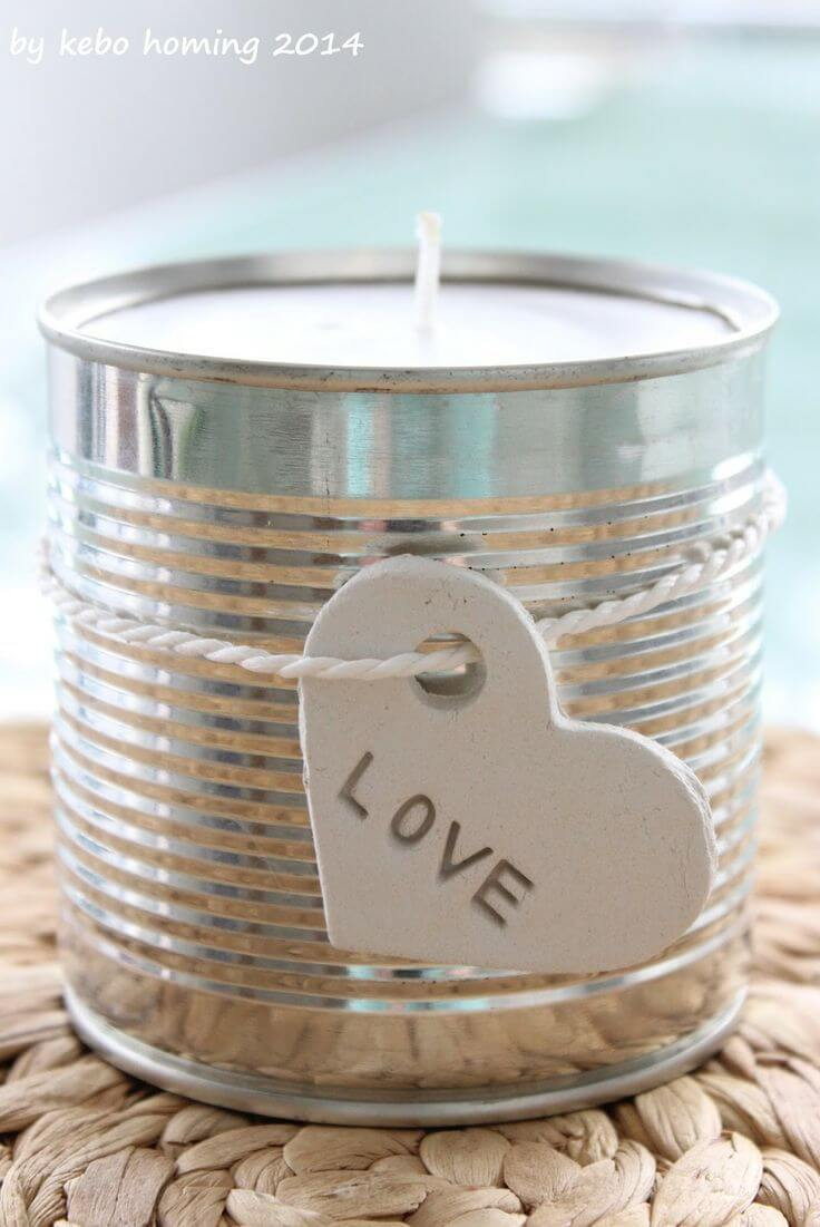 Recycled Tin Can Candle with Love Tag