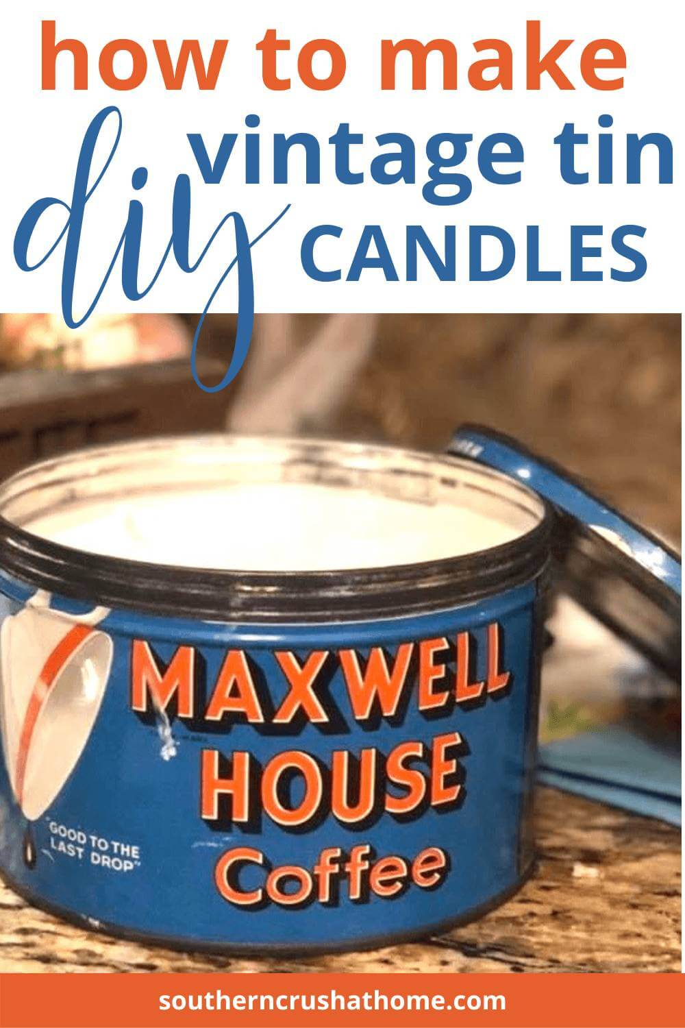 DIY Candles in vintage tin with lid