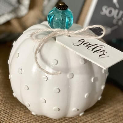 DIY Hobnail Milk Glass Pumpkin