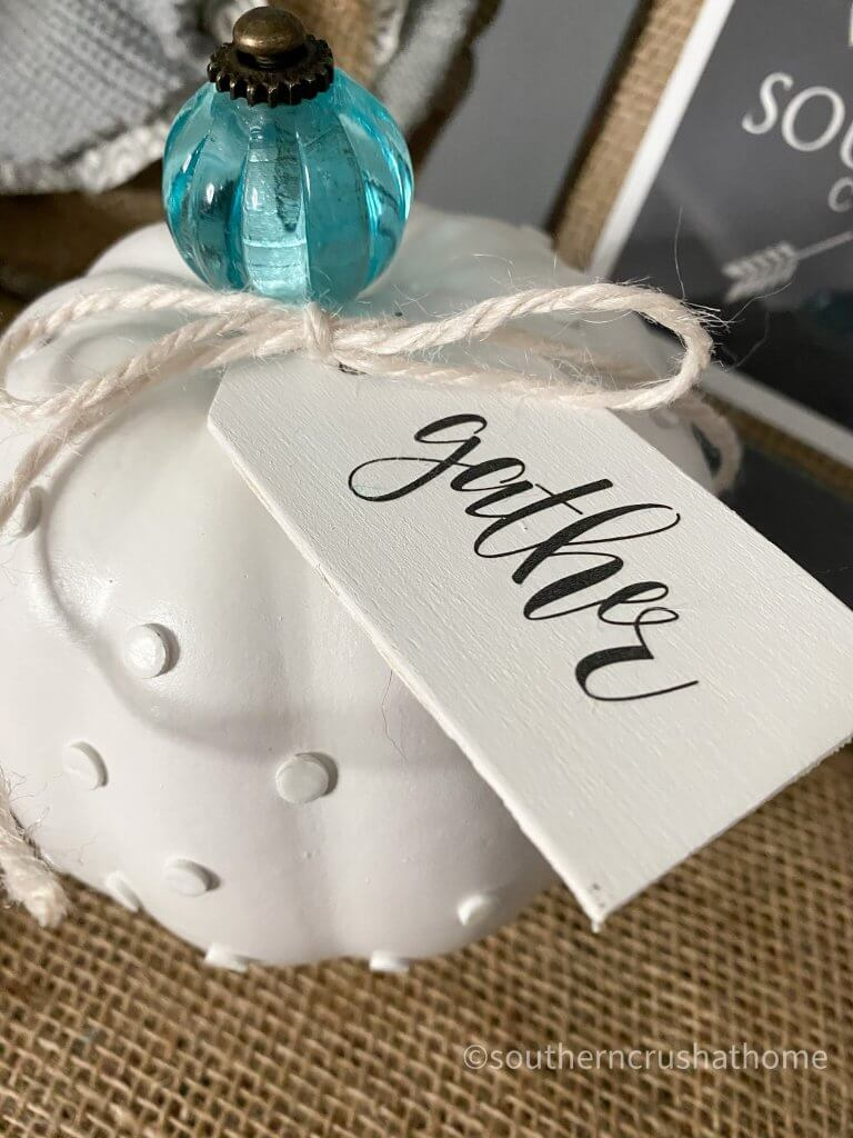 DIY MILK GLASS PUMPKIN tag with word gather