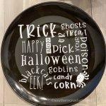 Halloween Cricut DIY Dollar Store plate decor