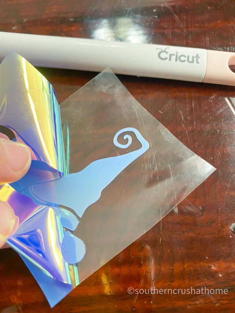 peeling back holographic cricut foil