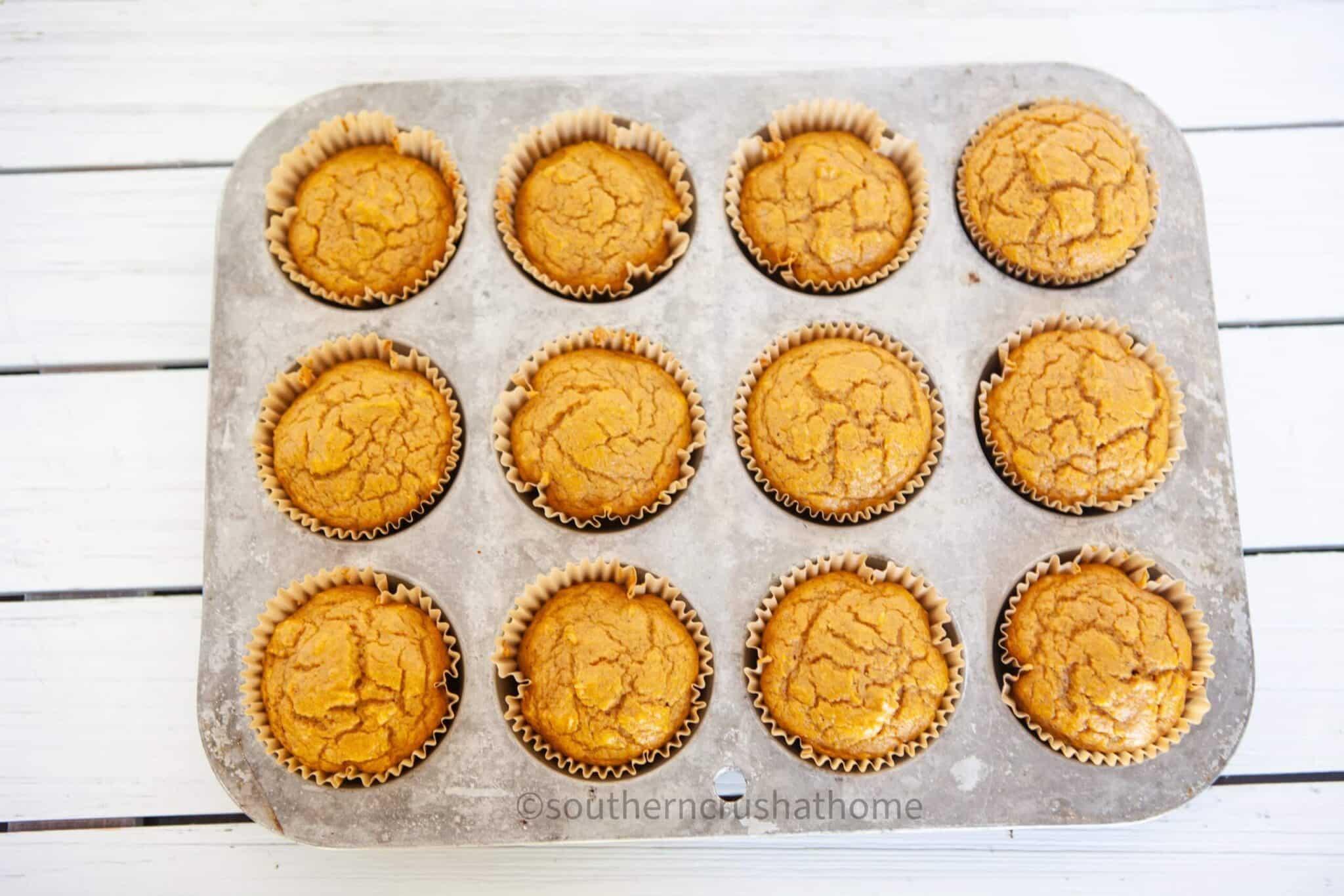 3 ingredient pumpkin muffins in pan