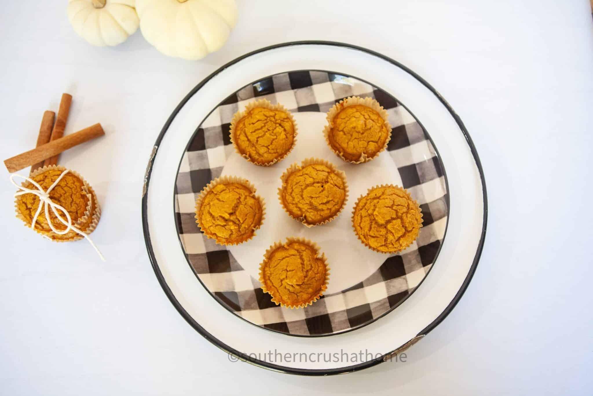 3 ingredient pumpkin muffins final overhead buffalo check plate