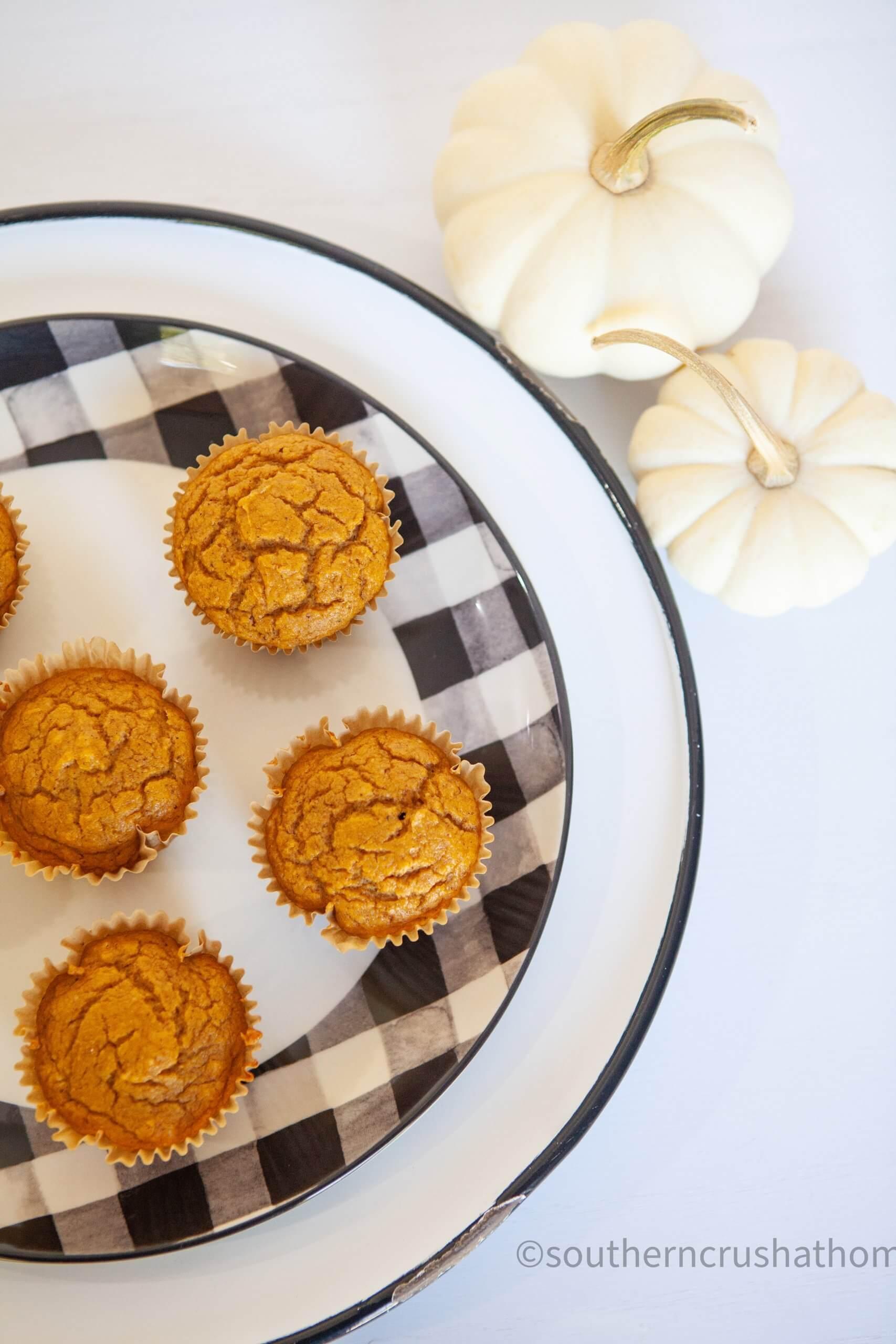 3 ingredient pumpkin muffins final edge of plate