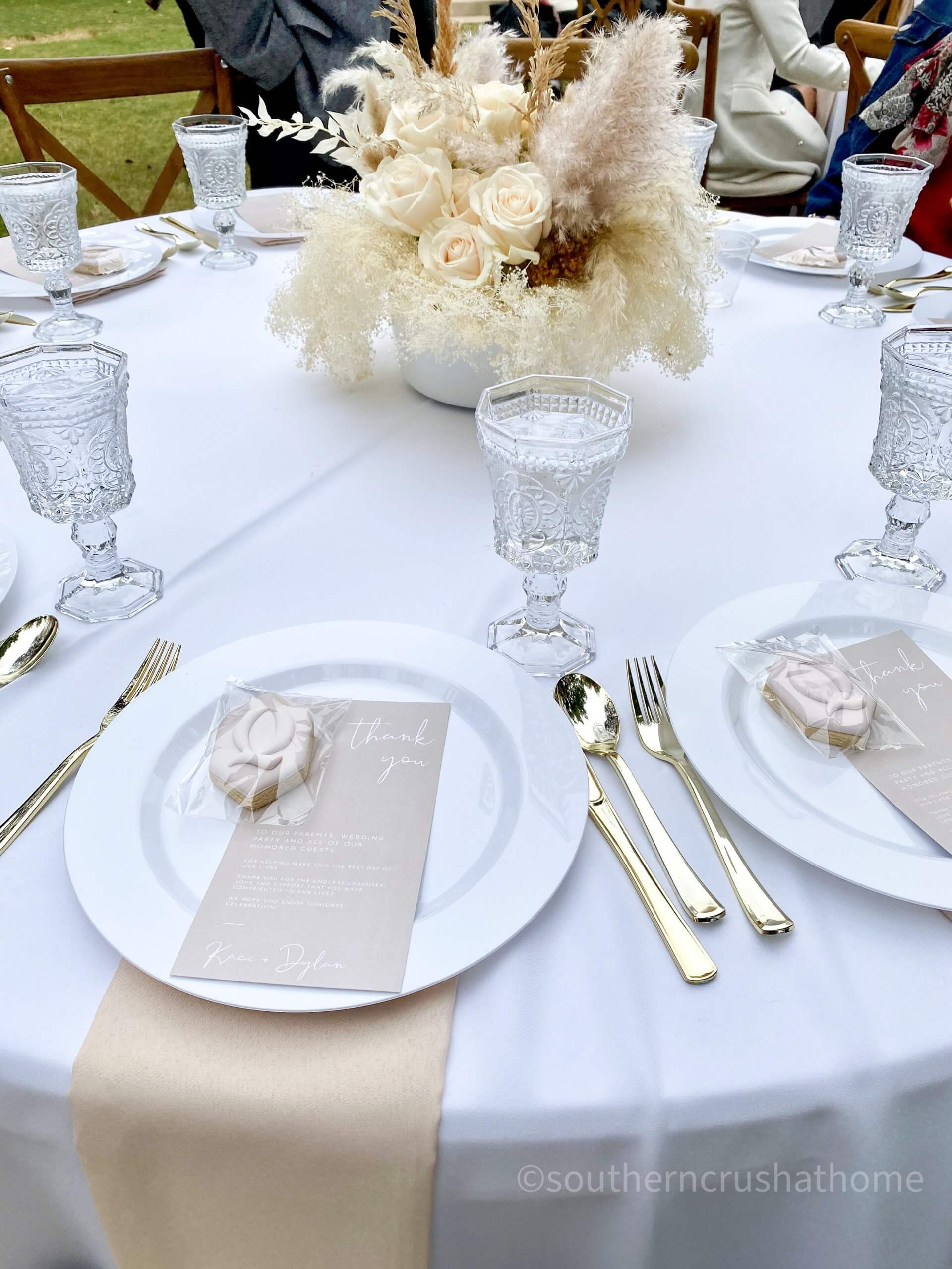 Bingham House Queen Wedding table setting