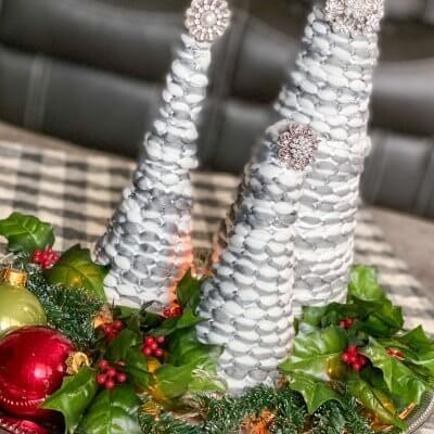Tabletop Christmas Cone Trees (Using a Mop Head)