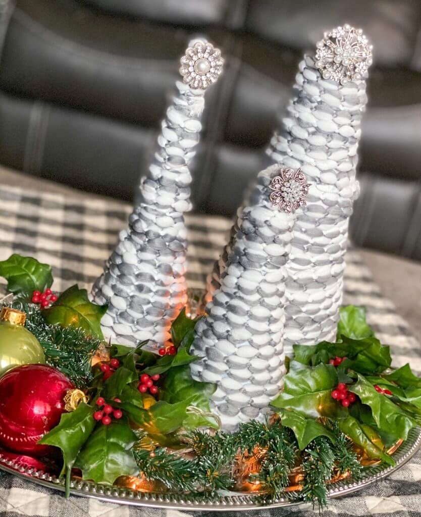 Christmas Cone Trees at an angle styled