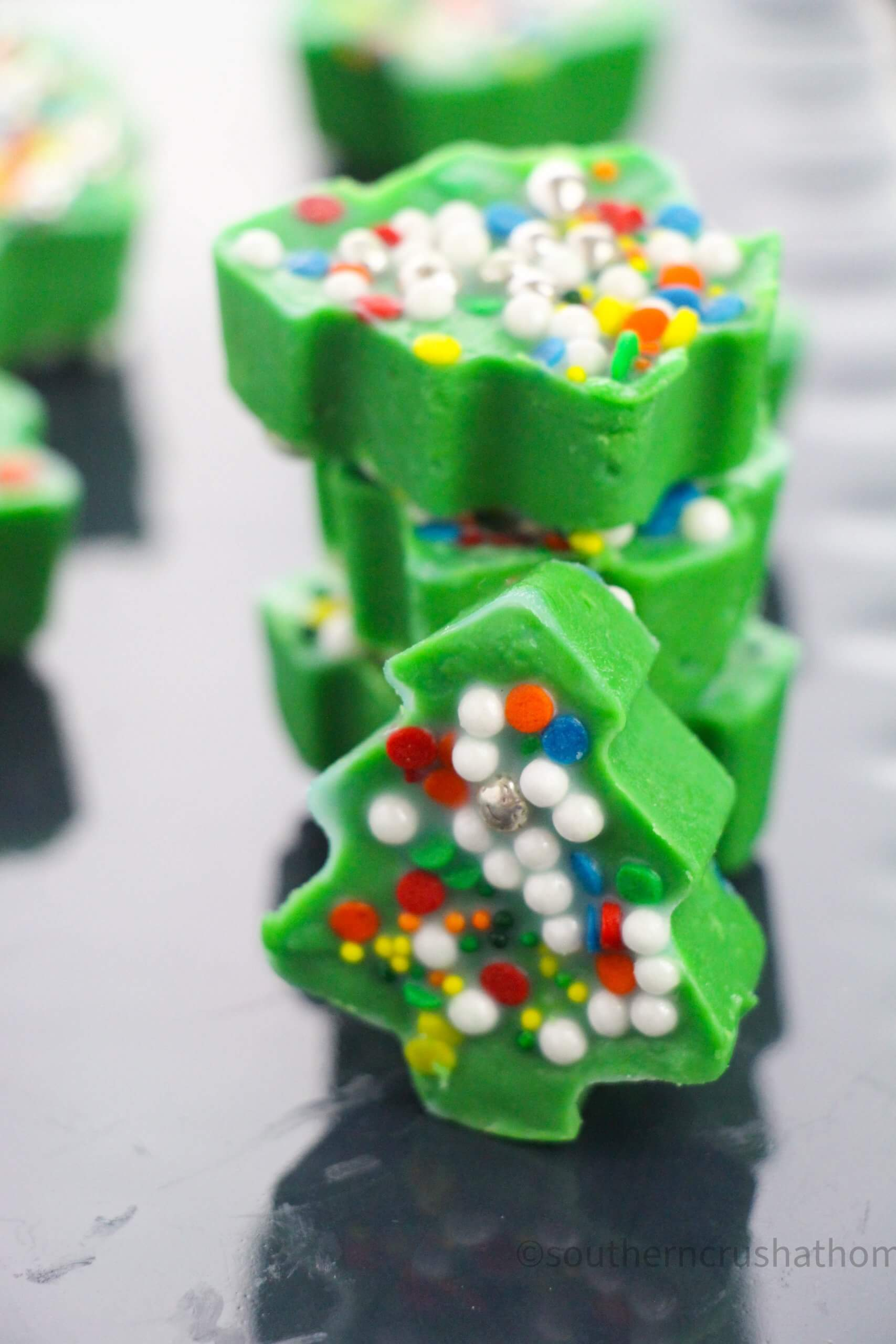Christmas Tree Fudge stacked for display