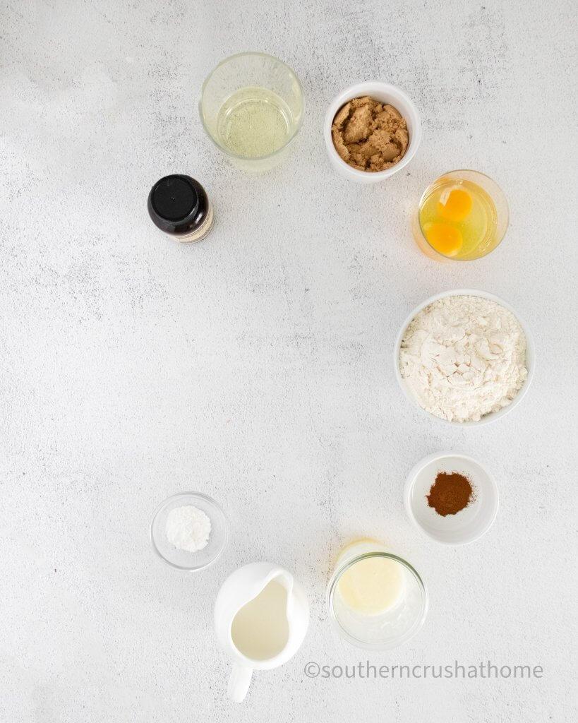 Ingredients for Cinnamon Vanilla Bean Cupcakes