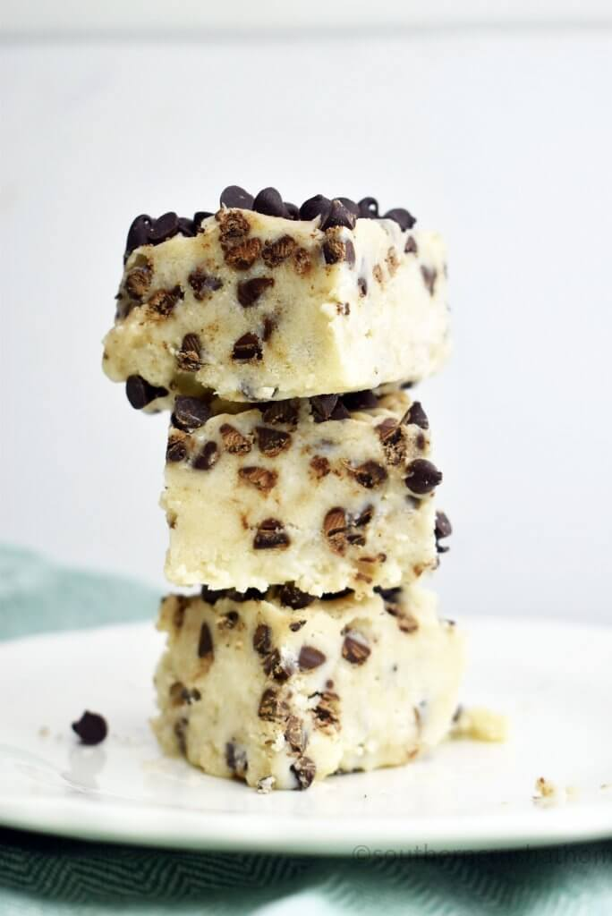 Stack of chocolate chip cookie dough fudge slices