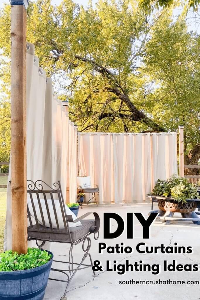 DIY Patio LIghting & Curtains Pin