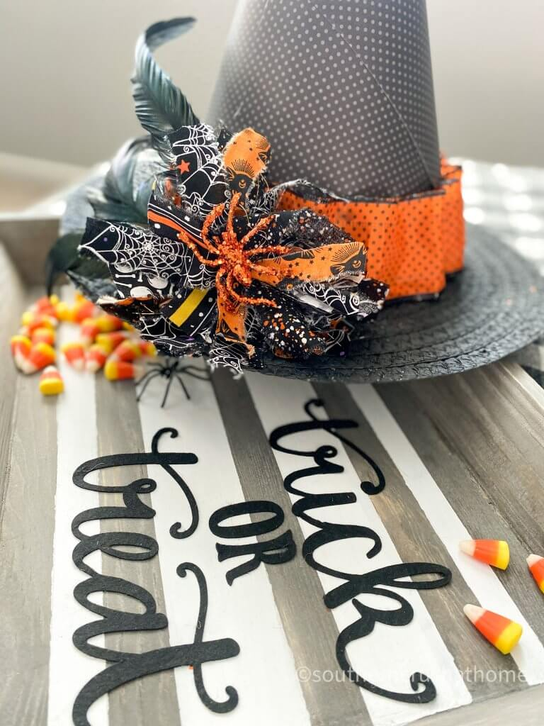 Halloween Witch Hat DIY closeup on trick or treat tray