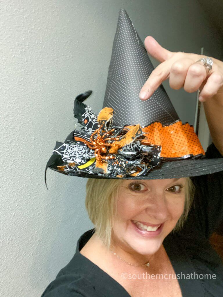 Halloween Witch Hat DIY modeling on person