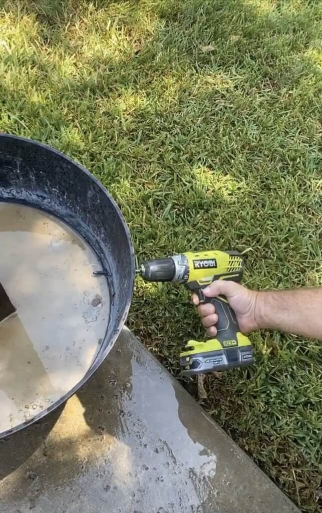 drilling holes for DIY patio lighting