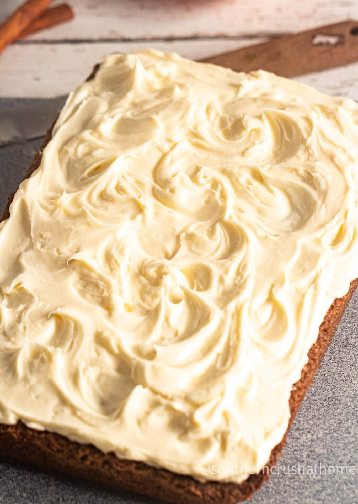 Easy Pumpkin Spice Cake for Thanksgiving with cream cheese frosting