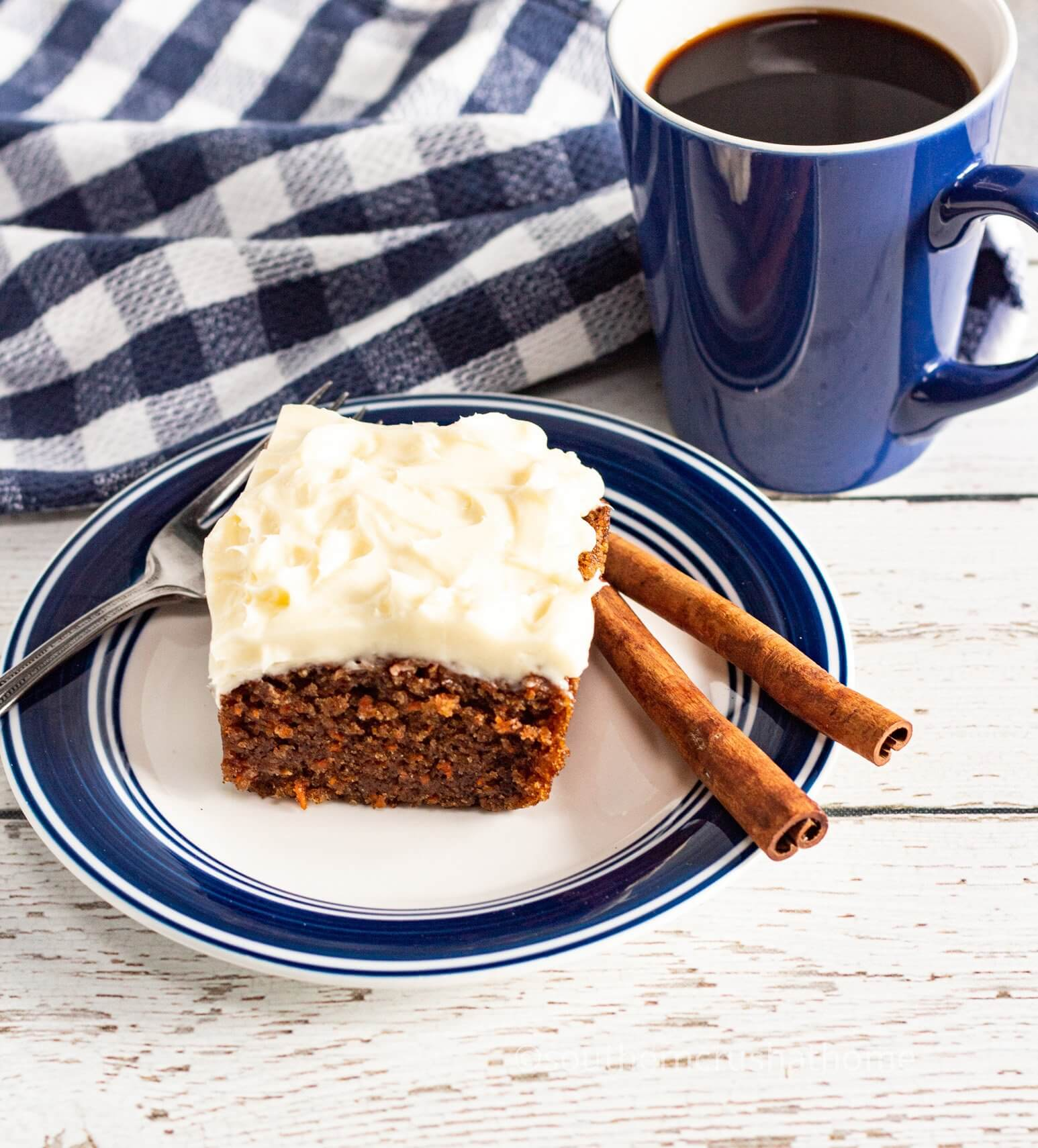 Easy Pumpkin Spice Cake for Thanksgiving with coffee close up