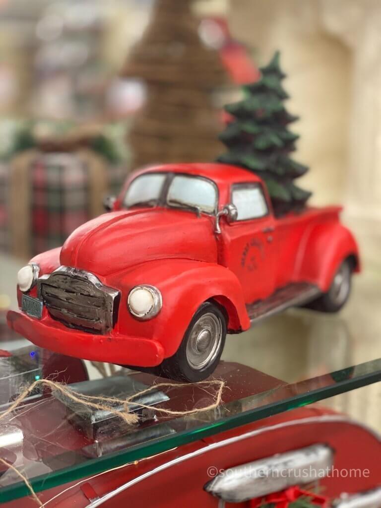 Hobby Lobby Christmas Decor Tour red truck figurine